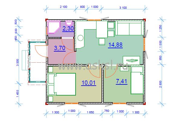 План 1 этажа ОД 6х7 К