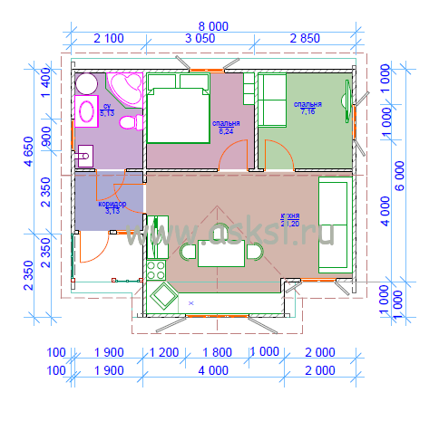 Каркасный дом ОДК 6х8 ТК план первого этажа