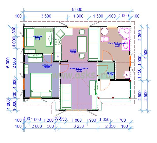 Каркасный дом ОДК 6х9 ТК план первого этажа