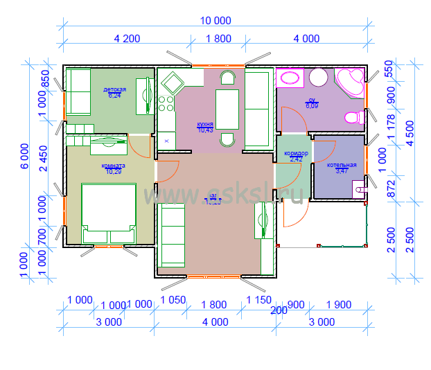 Каркасный дом ОД 6х10 ТК план первого этажа