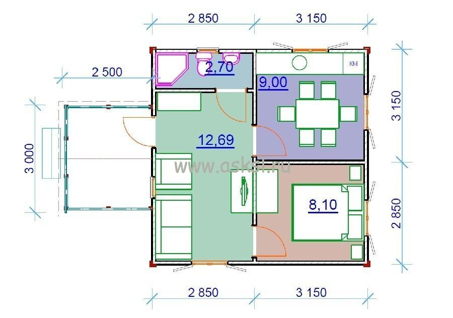 Каркасный дом ОДК 6х6 БК план первого этажа
