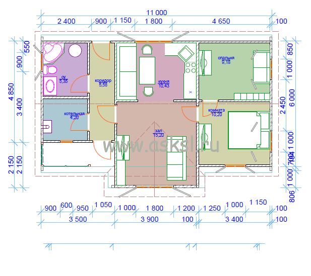 Каркасный дом ОДК 6х11 ТК план первого эатажа