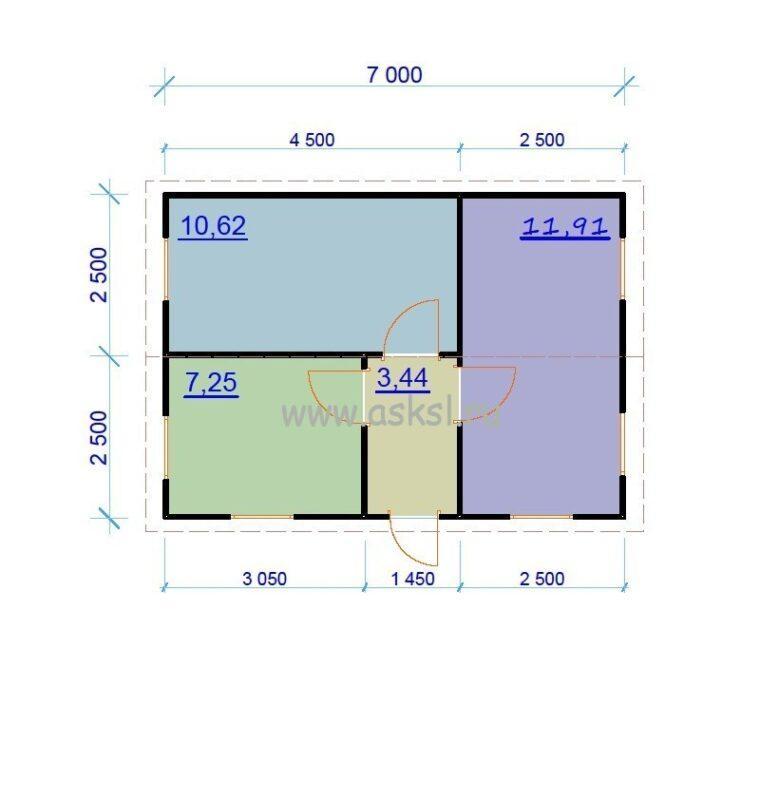 Каркасный дом ОДК 5х7 план первого этажа
