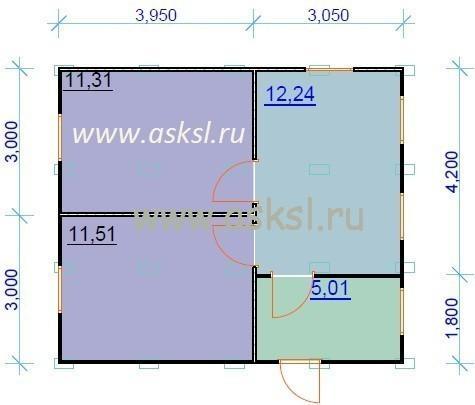 Каркасный дом ОДК 6х7 план первого этажа