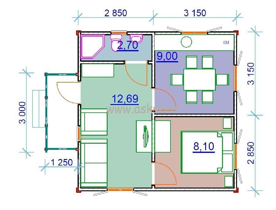 Каркасный дом ОД 6х6 К план первого этажа