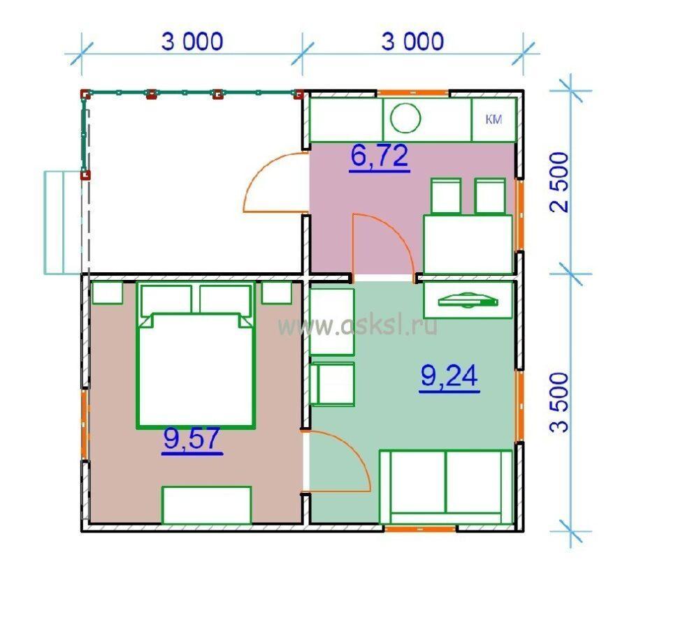 Каркасный дом ОДК 6х6 Т план первого этажа