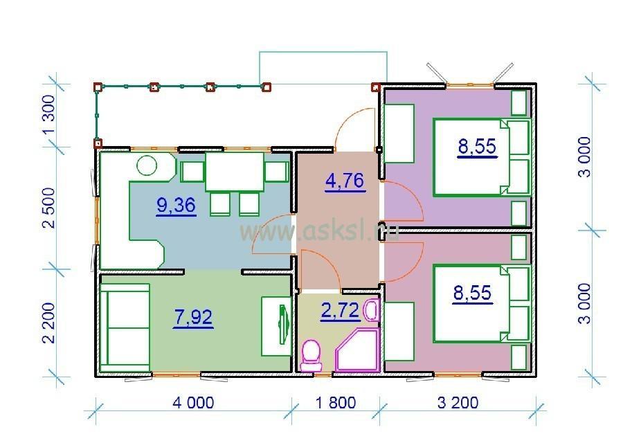 Каркасный дом ОДК 6х9 Т план первого этажа