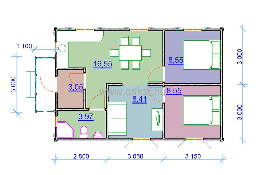 Каркасный дом ОДК 6х9 К план первого эатажа