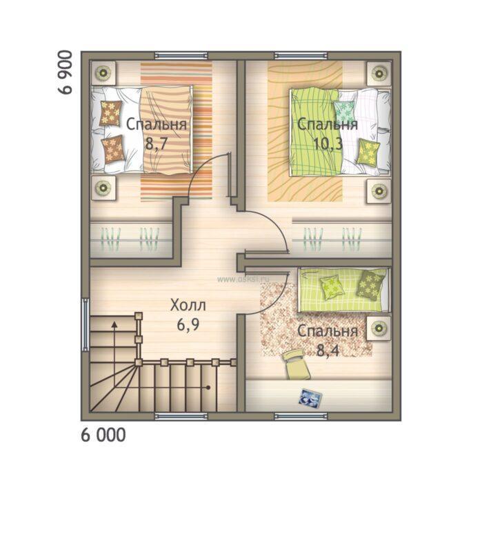 План каркасно-щитового дома ДД 6х7 1,5-Т