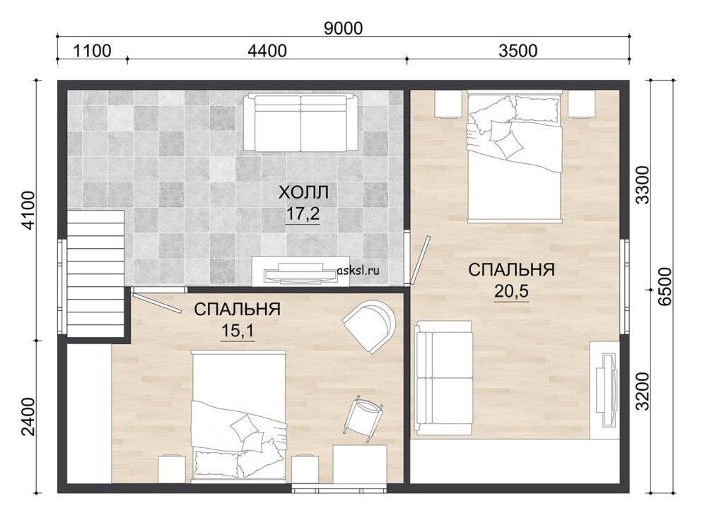 Проект каркасного дома ДДК 6,5х9 т