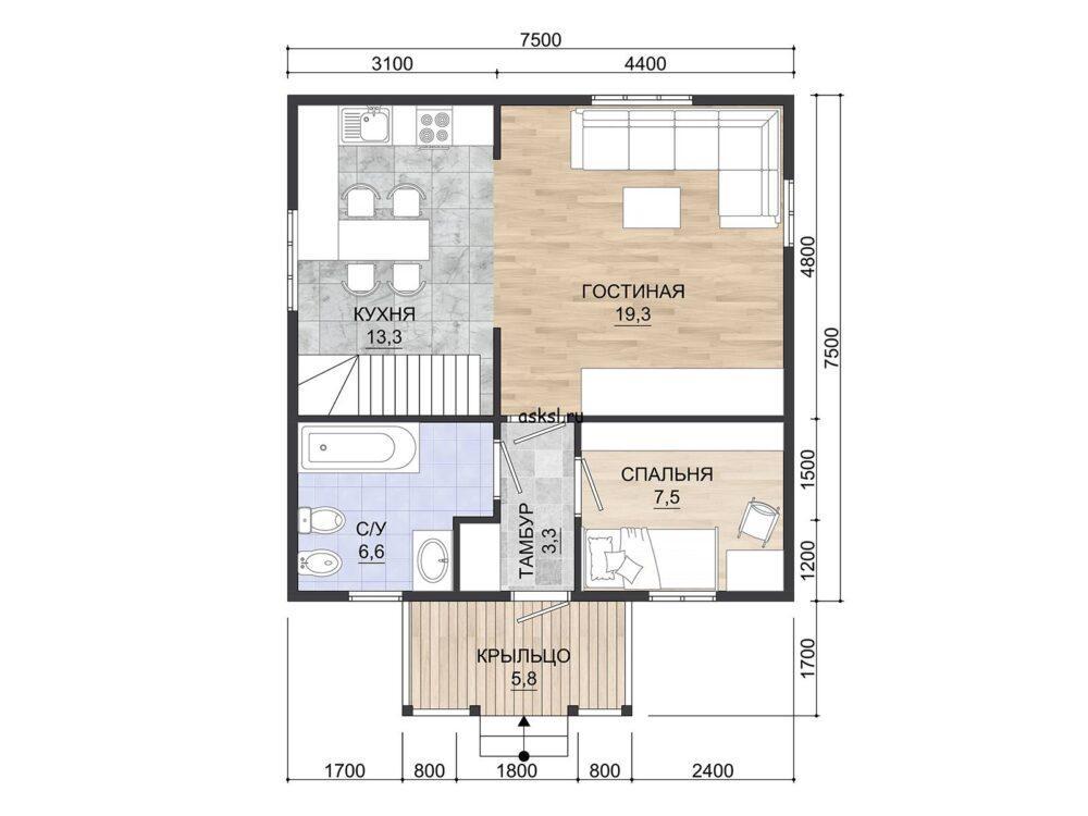 Фото планировки 1 этажа каркасного дома 7,5х7,5