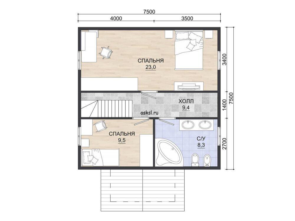 Фото планировки 2 этажа каркасного дома 7,5х7,5