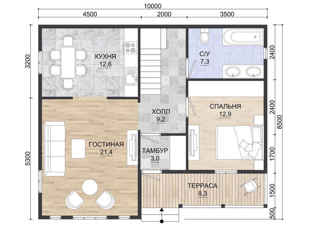 Фото плана 2 этажа каркасного дома
