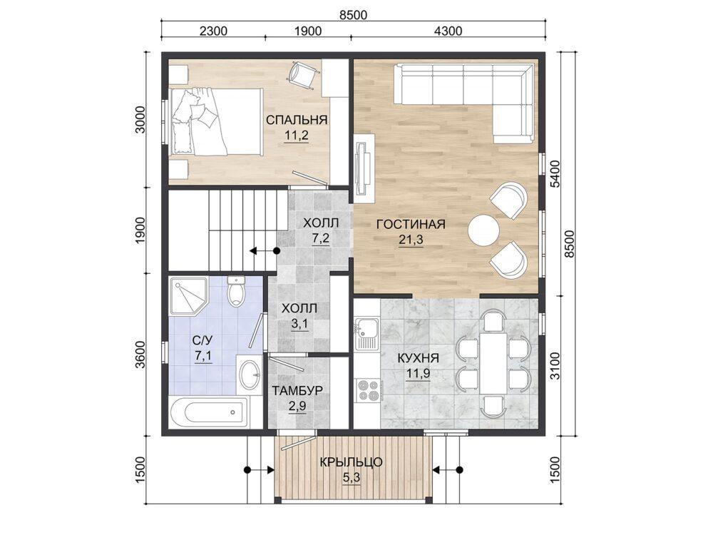 Фото плана 1 этажа каркасного дома 8,5х8,5