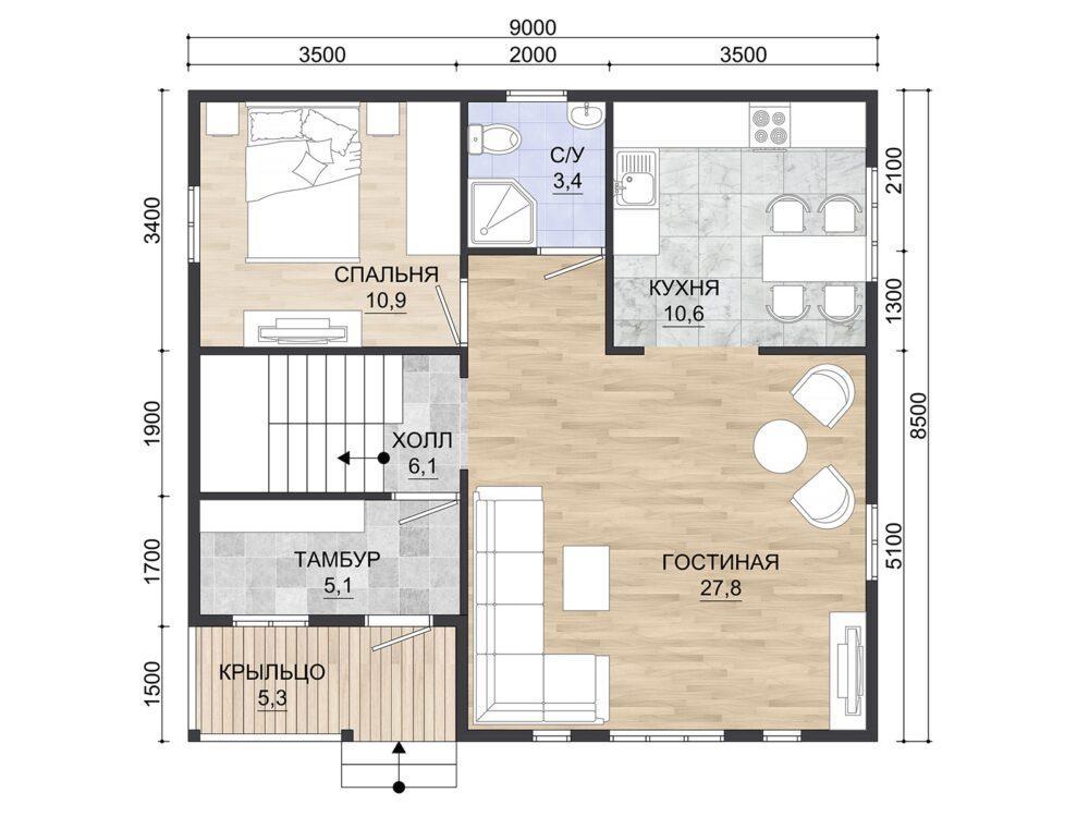 Фото плана 2 этажа каркасного дома 8,5х9