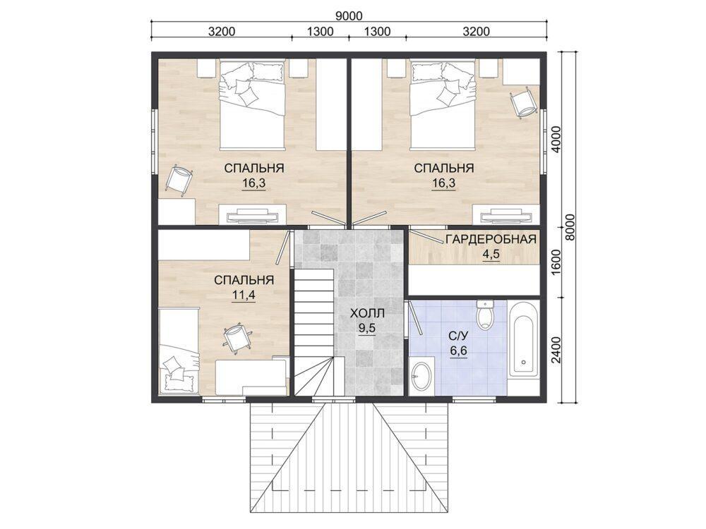 План 2 этажа Каркасного дома 8х9