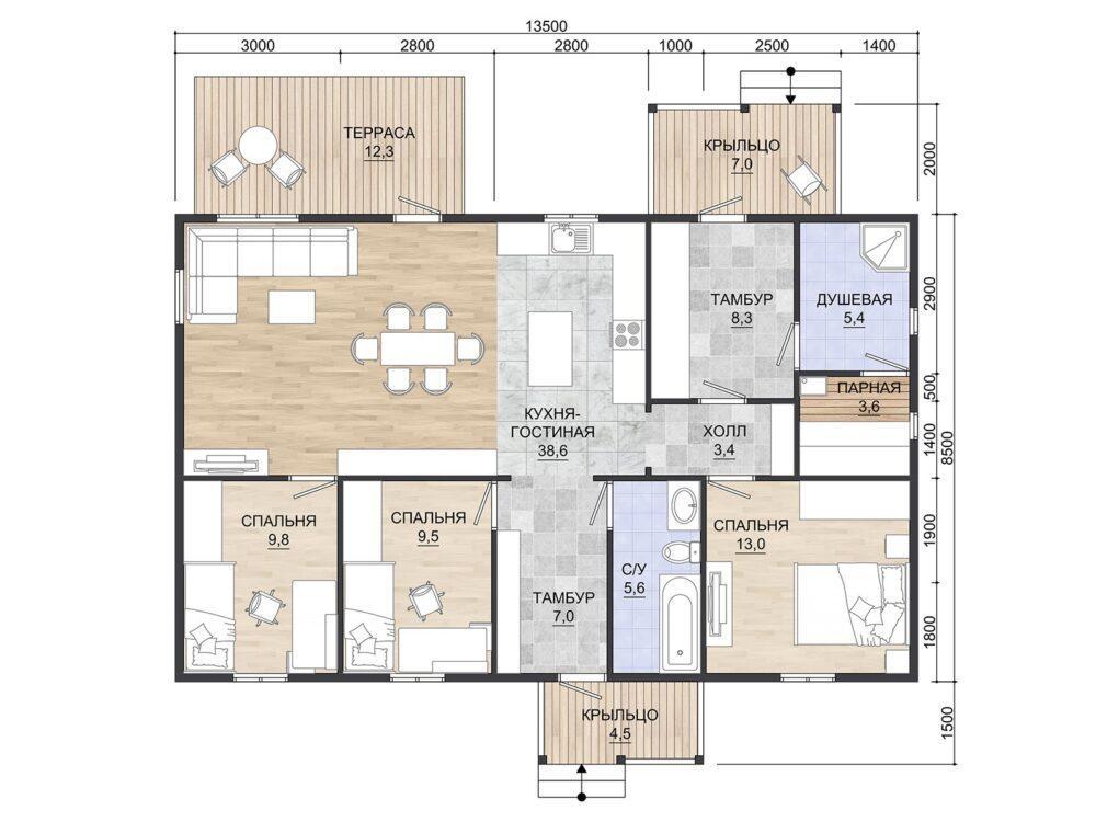 Проект каркасного дома ОДК 8,5х13,5