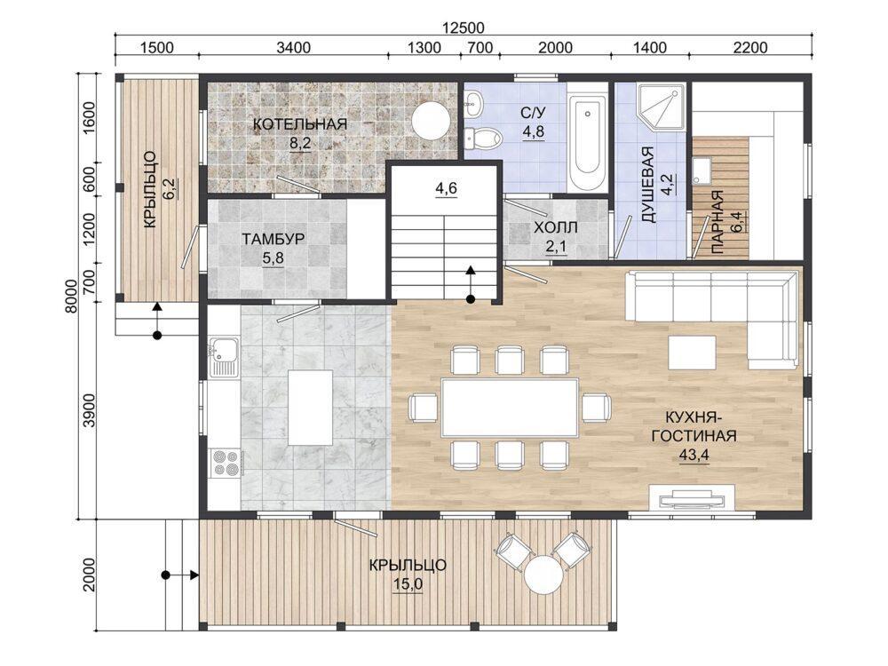 Фото планировки Каркасного дома 8х11