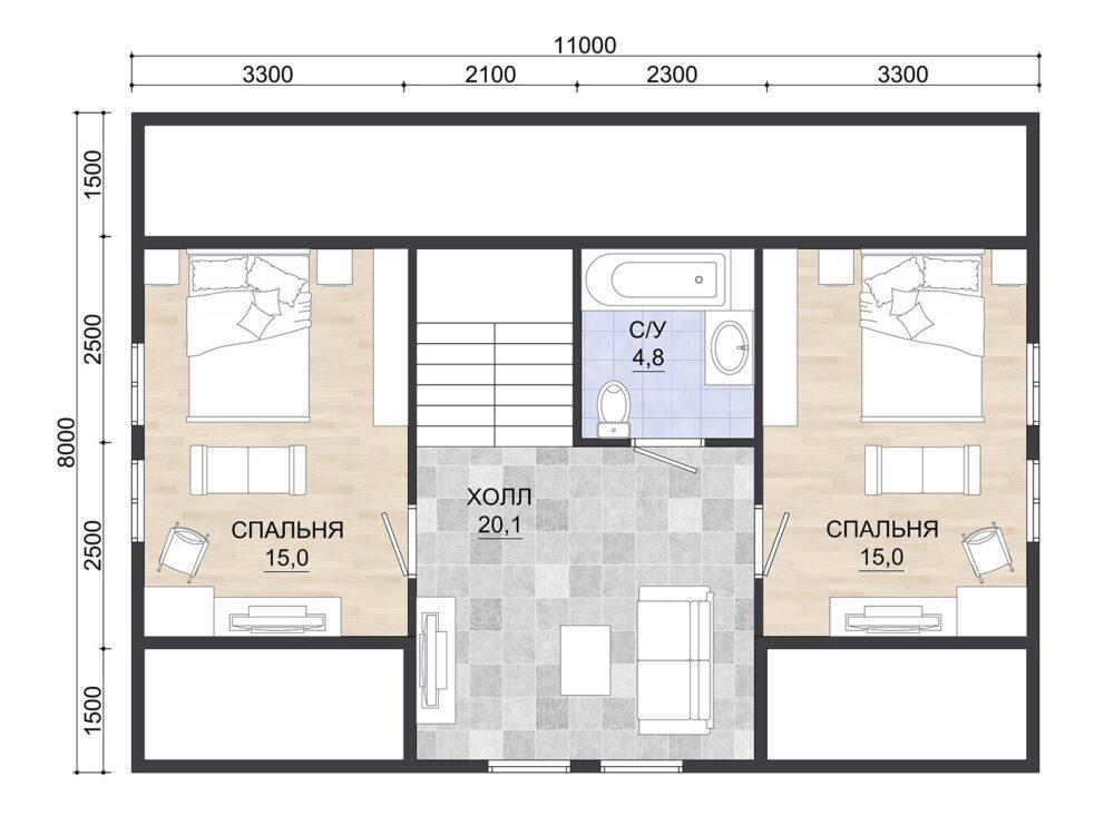 Фото плана 2 этажа каркасного дома 8х11