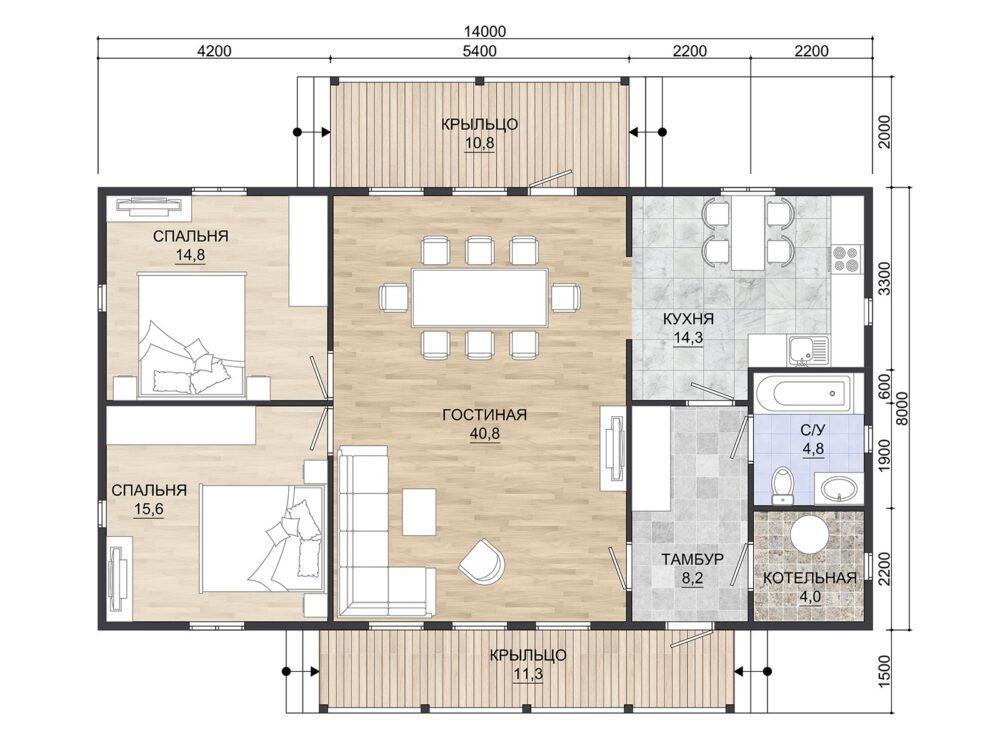 Проект каркасного дома финского проекта 8х14