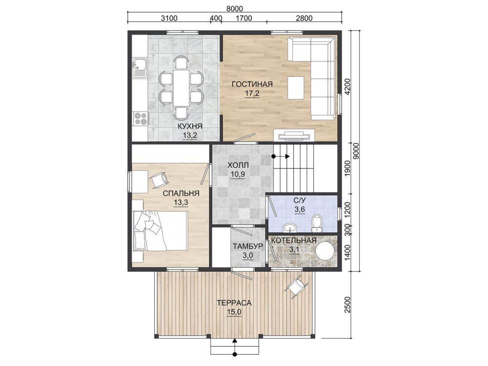 Фото планировки каркасного дома 8х9