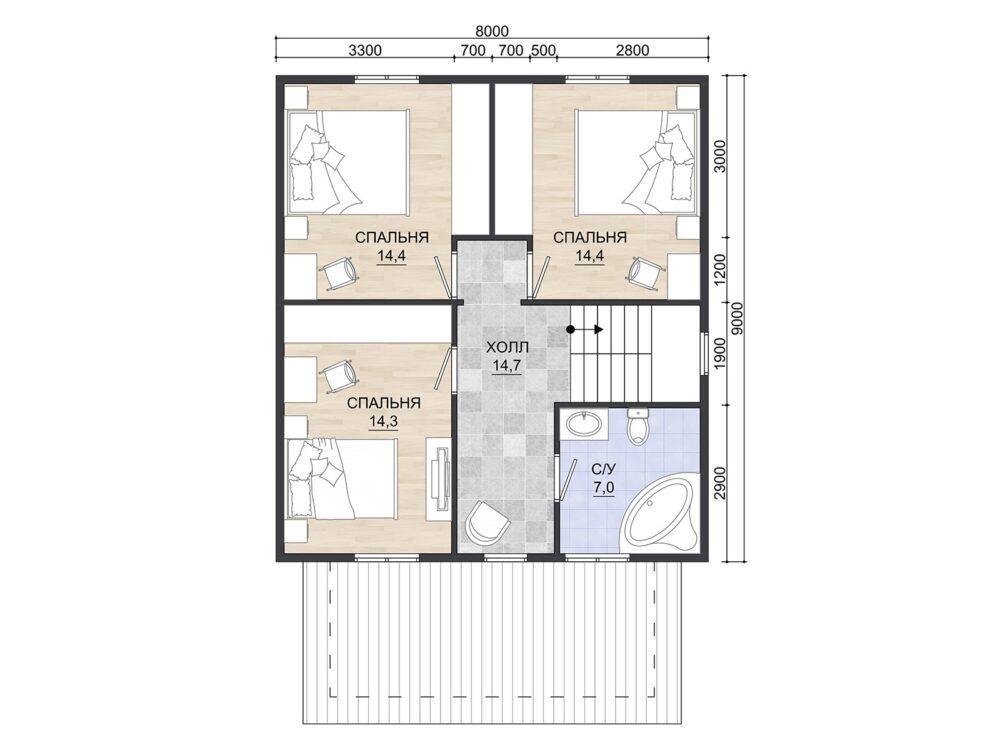 Фото планировки 2 этажа каркасного дома 8х9