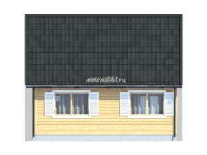 Каркасно-щитовой дом ДД 6х7 К-2 задний фасад
